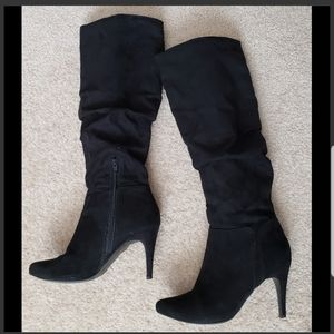Black suede 3.5 inch tall boots